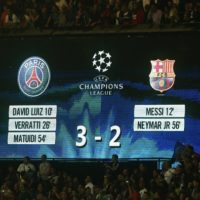 PARIS, FRANCE - SEPTEMBER 30: score of the game after the UEFA Champions League between Paris Saint-Germain FC and FC Barcelona at Parc Des Princes on September 30, 2014 in Paris, France.  (Photo by Xavier Laine/Getty Images)